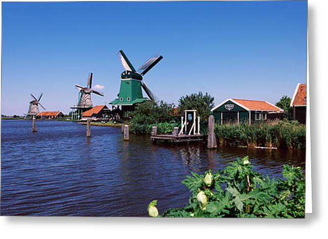 Zaanse Schans Greeting Cards - Open Air Museum At The Waterfront Greeting Card by Panoramic Images