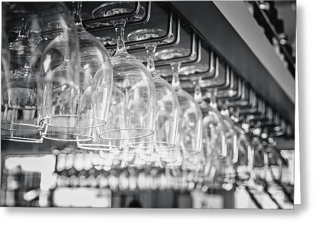 Hanging Wine Glasses Greeting Cards - Open Bar Greeting Card by April Reppucci