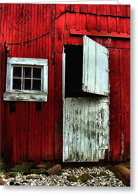 Julie Riker Dant ography Photographs Greeting Cards - Open Barn Door Greeting Card by Julie Dant
