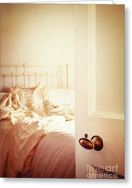 Sunlit Door Greeting Cards - Open Bedroom Door Greeting Card by Amanda And Christopher Elwell