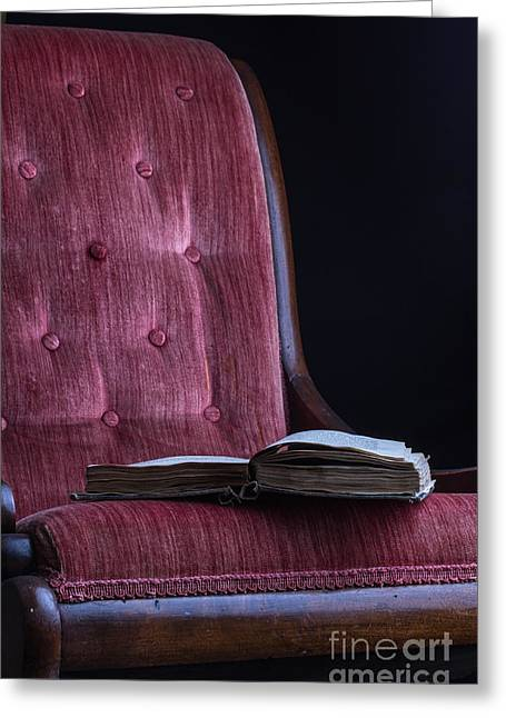 Novel Photographs Greeting Cards - Open book on vintage chair Greeting Card by Edward Fielding