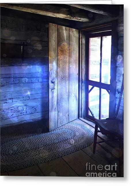 Rag Rug Greeting Cards - Open Cabin Door with Orbs Greeting Card by Jill Battaglia