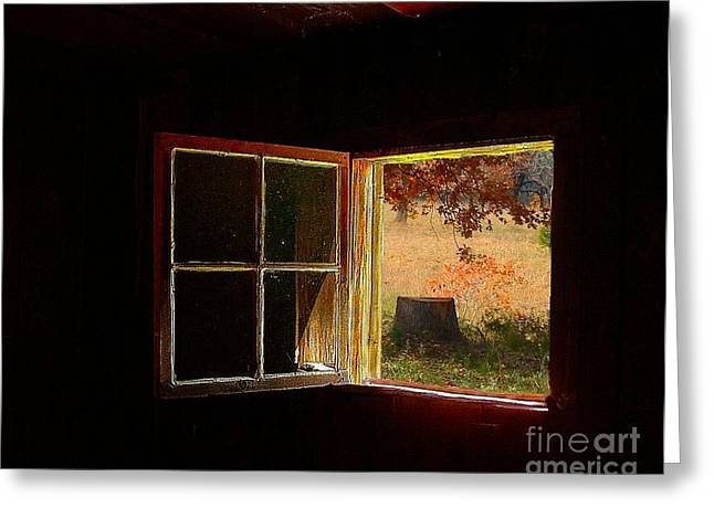 Log Cabins Greeting Cards - Open Cabin Window II Greeting Card by Julie Dant