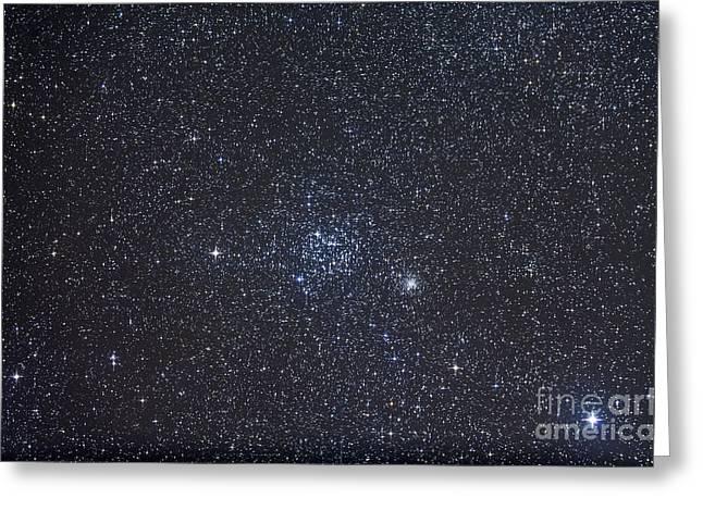 Twinkle Greeting Cards - Open Clusters Messier 35 And Ngc 2158 Greeting Card by Alan Dyer