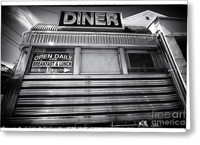 Stainless Steel Greeting Cards - Open Daily Breakfast and Lunch Greeting Card by John Rizzuto
