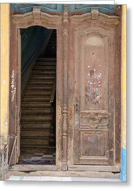 Havana Greeting Cards - Open Door Havana Street Scene Greeting Card by Rob Huntley
