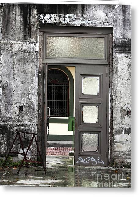 Open Place Greeting Cards - Open Door in Casco Viejo Greeting Card by John Rizzuto