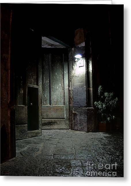 Naples Photographs Greeting Cards - Open Door Greeting Card by Marion Galt