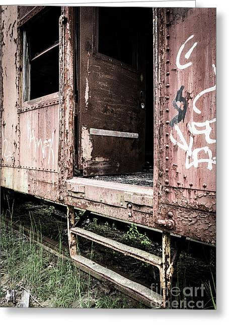 Apocalyptic Greeting Cards - Open door of an abandoned train car Greeting Card by Edward Fielding