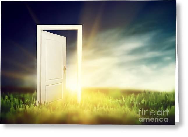 Entrance Door Greeting Cards - Open door on the green field Greeting Card by Michal Bednarek