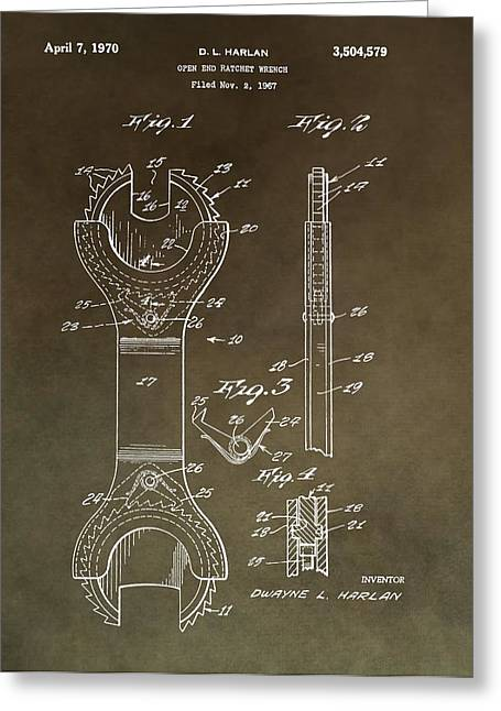 Mechanics Mixed Media Greeting Cards - Open End Ratchet Wrench Patent Greeting Card by Dan Sproul