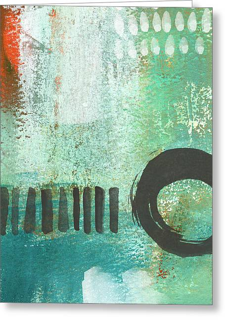 Corporate Art Greeting Cards - Open Gate- Contemporary Abstract Painting Greeting Card by Linda Woods