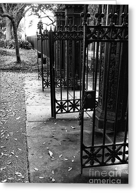 French Open Greeting Cards - Open Gates in Jackson Square mono Greeting Card by John Rizzuto