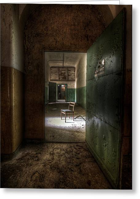 Empty Chairs Digital Greeting Cards - Open green door Greeting Card by Nathan Wright