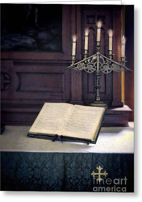 Candle Lit Greeting Cards - Open Hymnal and Candles on Altar Greeting Card by Jill Battaglia