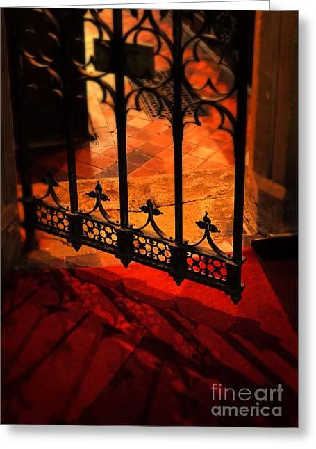 Christian Sanctuary Greeting Cards - Open Iron Gate in Church Greeting Card by Jill Battaglia