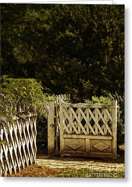 Painted Garden Gate Greeting Cards - Open Greeting Card by Margie Hurwich