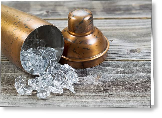 Bar Accessory Greeting Cards - Open Metal Drink Mixer on its side with ice flowing out on to wo Greeting Card by Tom  Baker