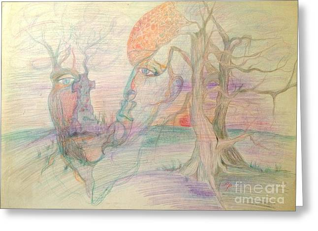 Bare Trees Drawings Greeting Cards - Open Minded Greeting Card by Diane Phelps