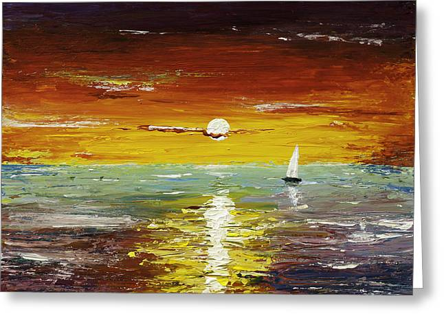 Pallet Knife Greeting Cards - Open Sea Greeting Card by Gray  Artus
