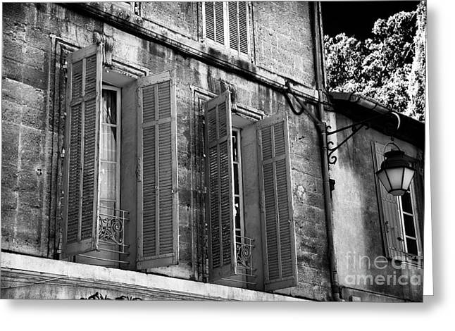 French Open Greeting Cards - Open Shutters in Avignon Greeting Card by John Rizzuto
