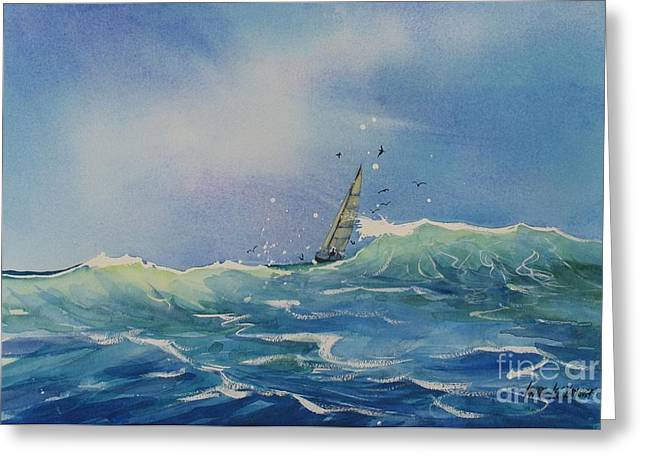 Sailboat Ocean Greeting Cards - Open Waters Greeting Card by Laura Lee Zanghetti