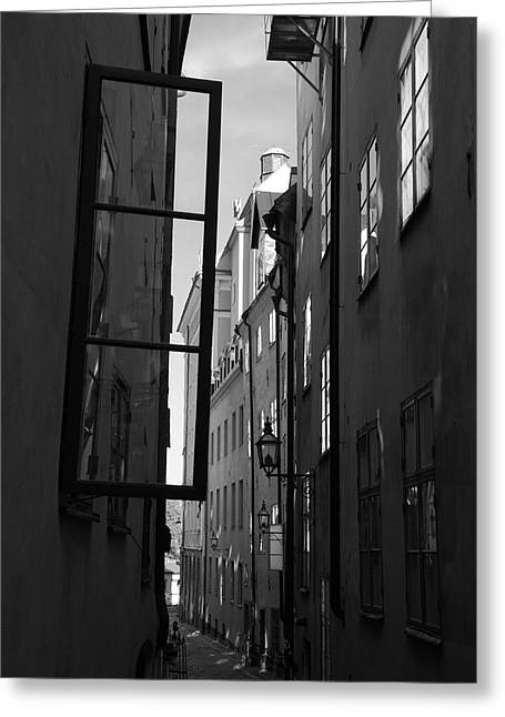 Buildings And Narrow Lanes Greeting Cards - Open window and graffitis - monochrome Greeting Card by Intensivelight