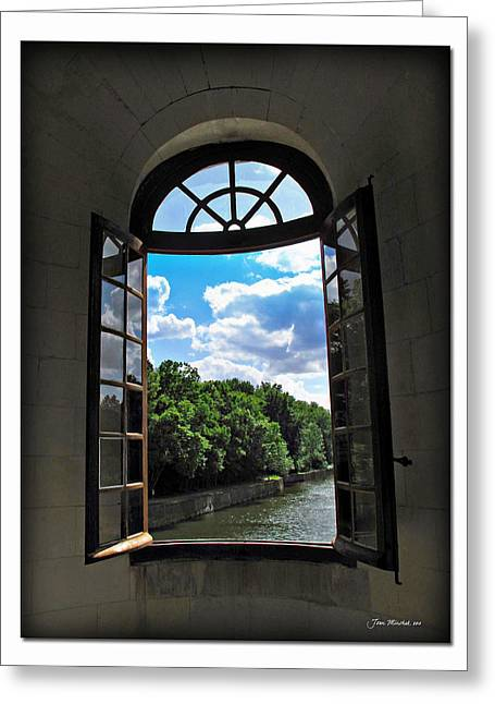 Catherine Window Greeting Cards - Open Window at Chateau Chenonceau Greeting Card by Joan  Minchak