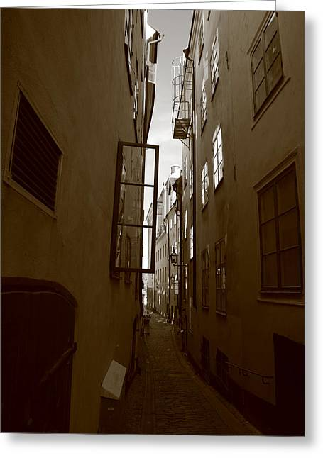 Buildings And Narrow Lanes Greeting Cards - Open window in Gamla Stan in Stockholm Greeting Card by Intensivelight