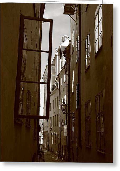 Buildings And Narrow Lanes Greeting Cards - Open window in Gamla Stan - sepia Greeting Card by Intensivelight