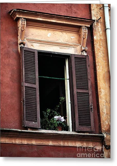 Trastevere Greeting Cards - Open Window in Rome Greeting Card by John Rizzuto