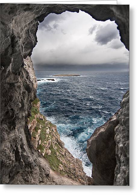 Sunset Posters Greeting Cards - A natural window in Minorca north coast discover us an impressive view of sea and sky - Open window Greeting Card by Pedro Cardona
