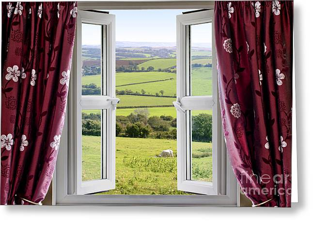 White Cloth Photographs Greeting Cards - Open window with view across and English countryside Greeting Card by Simon Bratt Photography LRPS