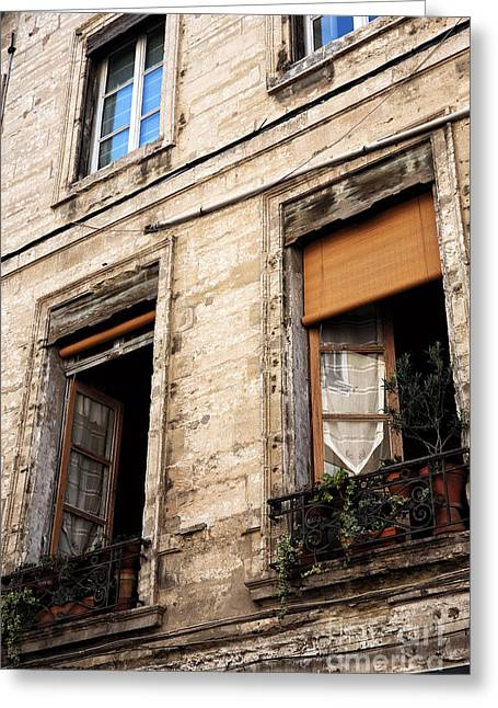French Open Greeting Cards - Open Windows in Avignon Greeting Card by John Rizzuto