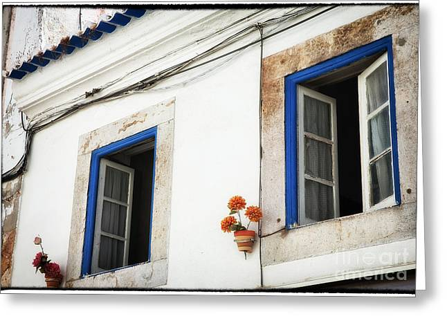 Open Place Greeting Cards - Open Windows in Cascais Greeting Card by John Rizzuto