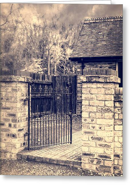 Ironworks Greeting Cards - Open Wrought Iron Gate Greeting Card by Amanda And Christopher Elwell