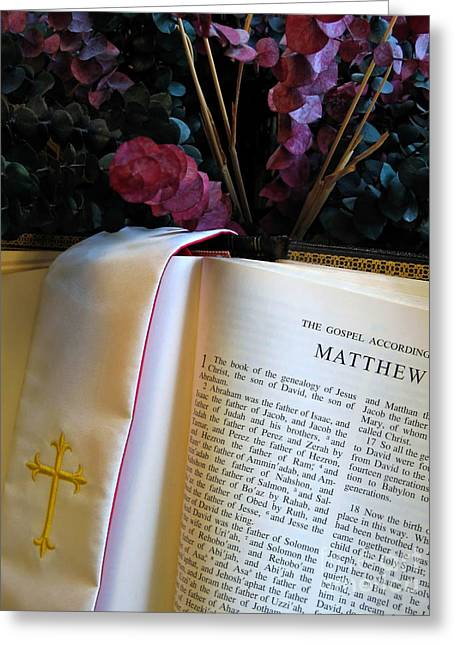Gospel Of Matthew Greeting Cards - Opened Bible Greeting Card by Ann Horn