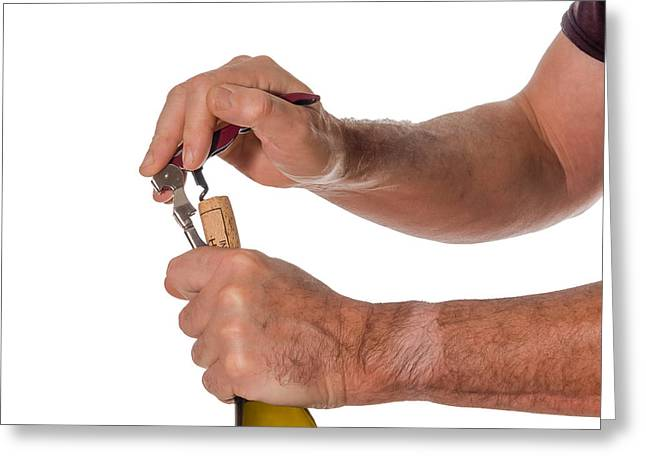 Opening A Bottle Of Wine Greeting Card by Patricia Hofmeester