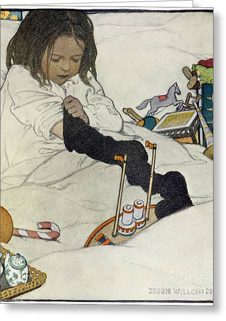 Opening Day Greeting Cards - Opening the Christmas Stocking Greeting Card by Jessie Willcox Smith