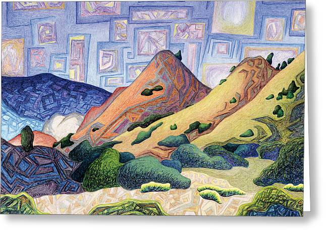 Mystical Landscape Pastels Greeting Cards - Opening the dream window Greeting Card by Dale Beckman