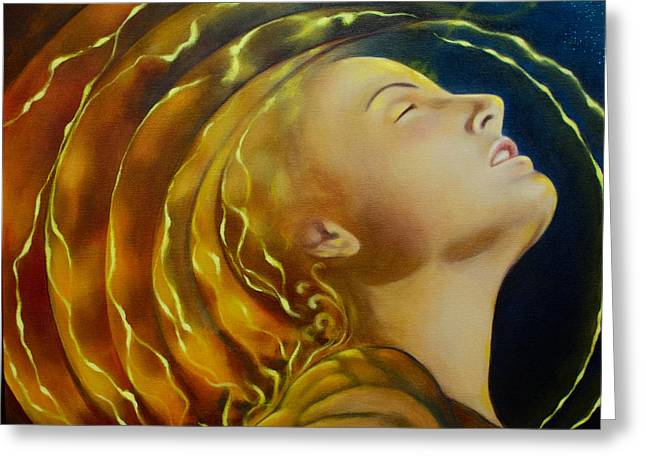 Divine Feminine Greeting Cards - Opening to Light Greeting Card by Christina Gage