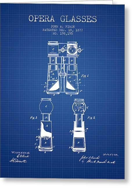 Glass Wall Greeting Cards - Opera Glasses Patent from 1877 - Blueprint Greeting Card by Aged Pixel
