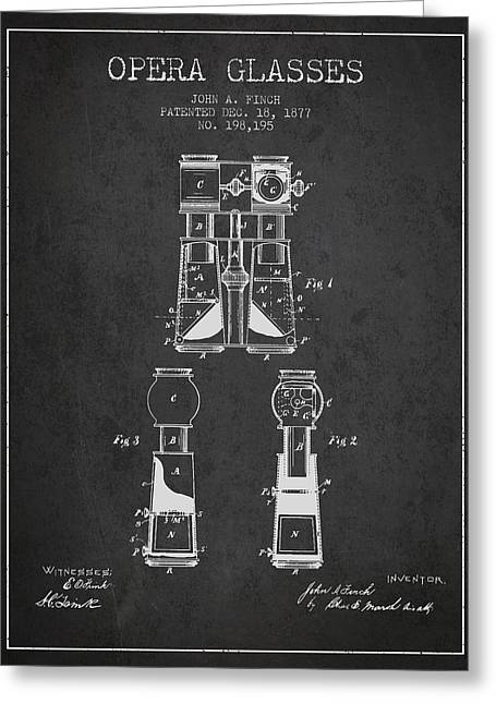 Opera Glasses Greeting Cards - Opera Glasses Patent from 1877 - Dark Greeting Card by Aged Pixel