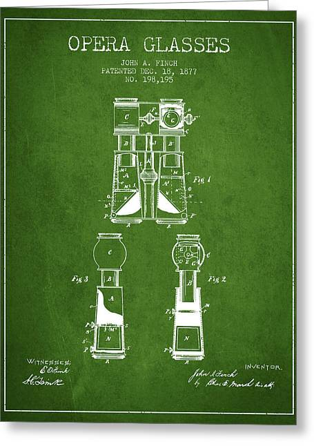Opera Greeting Cards - Opera Glasses Patent from 1877 - Green Greeting Card by Aged Pixel