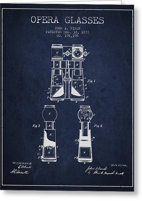 Opera Greeting Cards - Opera Glasses Patent from 1877 - Navy Blue Greeting Card by Aged Pixel