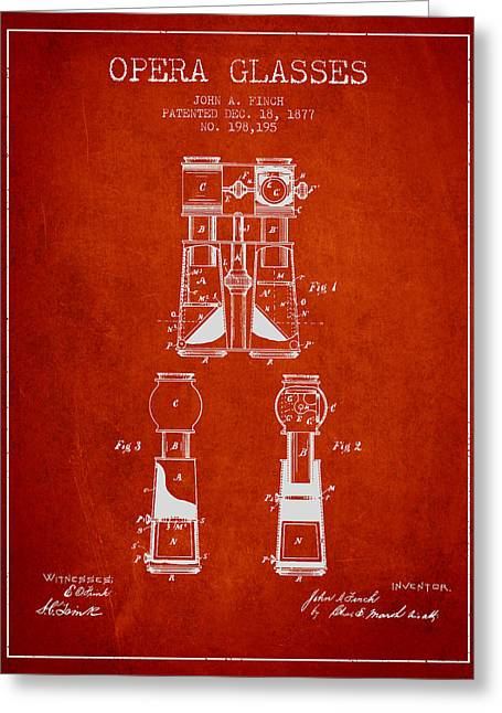 Opera Greeting Cards - Opera Glasses Patent from 1877 - Red Greeting Card by Aged Pixel