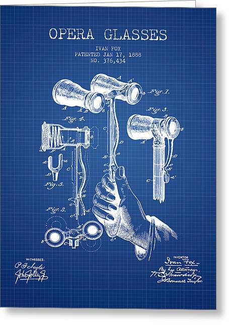 Opera Greeting Cards - Opera Glasses Patent from 1888 - Blueprint Greeting Card by Aged Pixel