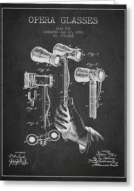 Opera Greeting Cards - Opera Glasses Patent from 1888 - Dark Greeting Card by Aged Pixel