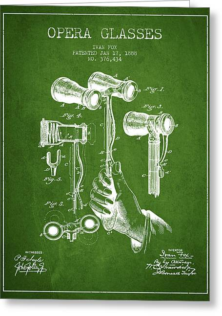Opera Greeting Cards - Opera Glasses Patent from 1888 - Green Greeting Card by Aged Pixel