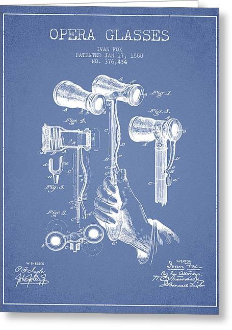 Opera Greeting Cards - Opera Glasses Patent from 1888 - Light Blue Greeting Card by Aged Pixel